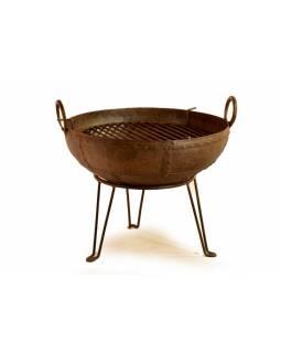 """Kovová mísa/ohniště """"Kadai"""" s roštem na stojanu, průměr 54cm, výška48cm"""