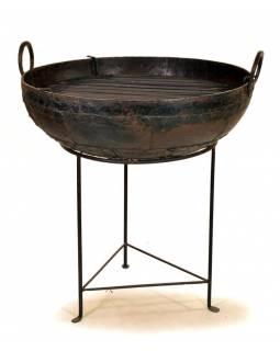 """Kovová mísa/ohniště """"Kadai"""" s roštem na stojanu, průměr 76cm, výška 85cm"""