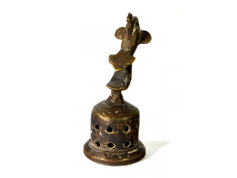 Čistič chodidel, mosazný, antik, páv, 4x10cm
