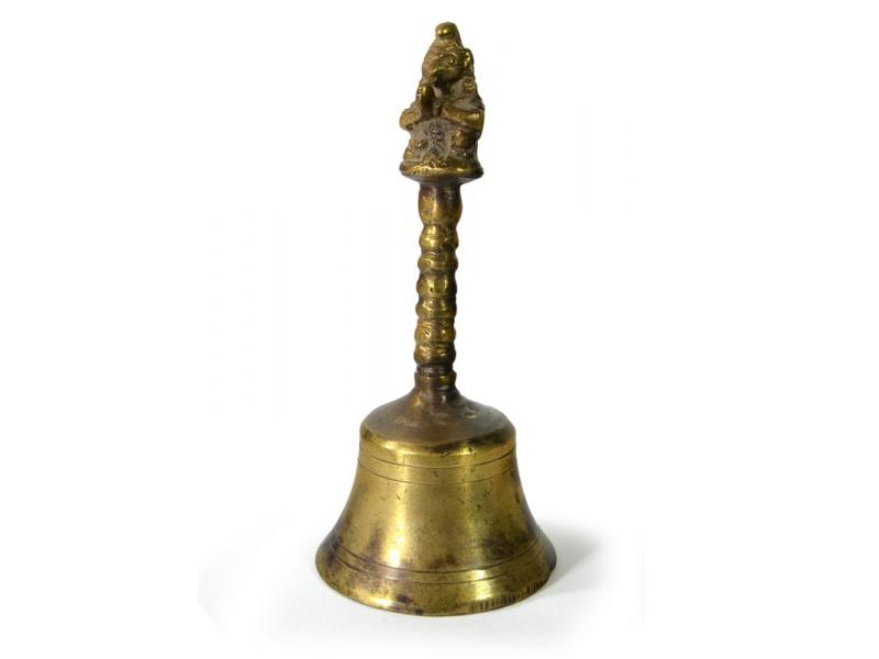 Zvoneček s rukojetí, antik, mosazný, 16cm