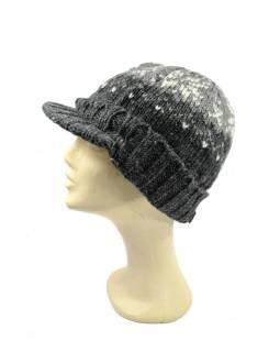 Čepice, visor cap, kšilt, vlna, podšívka, vzor vločka, šedá