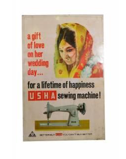 """Antik kovová reklamní cedule na stěnu, """"Usa Sewing"""", 48x73cm"""