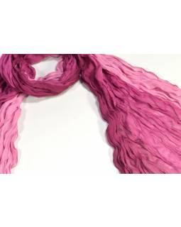 Šátek, vínovo-růžová batika, mačkaná úprava, 110x170cm