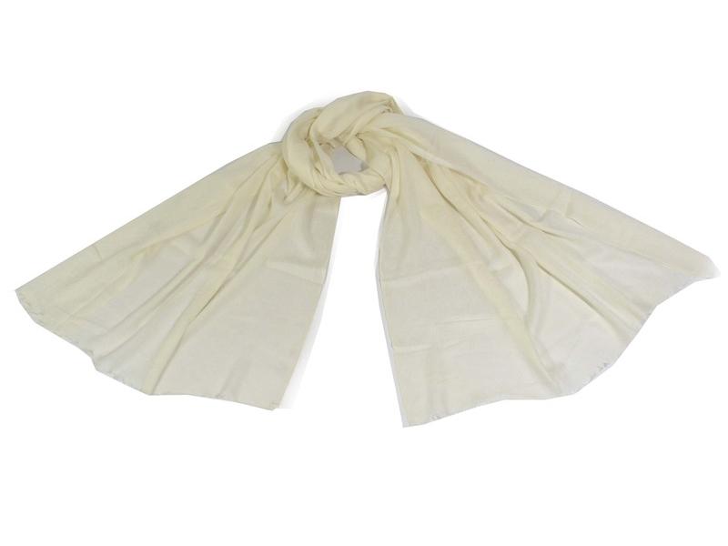 Krémově bílá pašmína s jemným paisley vzorem, 80x210cm