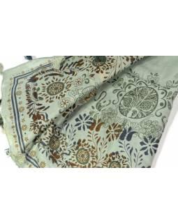 Šátek s květinovými motivy a třásněmi, šedý, 110x110cm