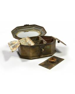 Stará mosazná truhlička - šperkovnice, 19x13x10cm