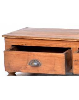 Nízký stolek z teakového dřeva, dva šuplíky, 104x43x30cm