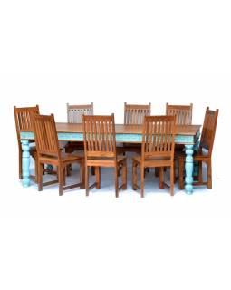 Jídelní stůl + 8 židlí, antik teak, ruční řezby, tyrkysová patina, 240x100x78cm