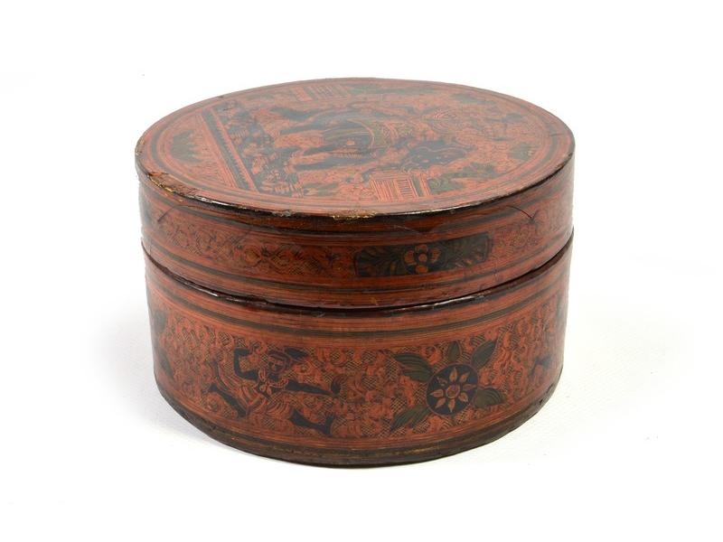 Ručně malovaná antik krabička z Barmy, 18x18x7cm