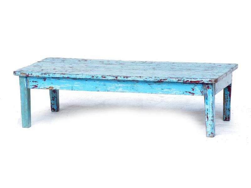 Čajový stolek z antik teakového dřeva, tyrkysová patina, 92x46x24cm