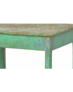 Stolek z antik teakového dřeva, zelená patina, 63x56x52cm