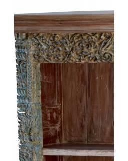 Knihovna z antik teakového dřeva, ruční řezby, 122x46x177cm