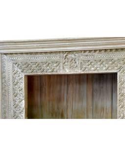 Knihovna z antik teakového dřeva, ruční řezby, 113x43x213cm