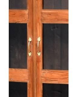 Prosklená skříň z antik teakového dřeva, 80x41x180cm
