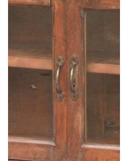 Prosklená skříňka z antik teakového dřeva, 73x24x60cm