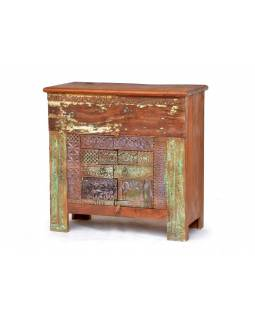 Komoda z antik teakového dřeva, zdobená řezbami, 97x48x95cm