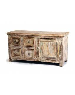 Komoda z antik teakového dřeva, patina, 107x40x56 cm